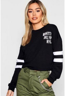 Womens Petite Slogan Baseball Sweat Top