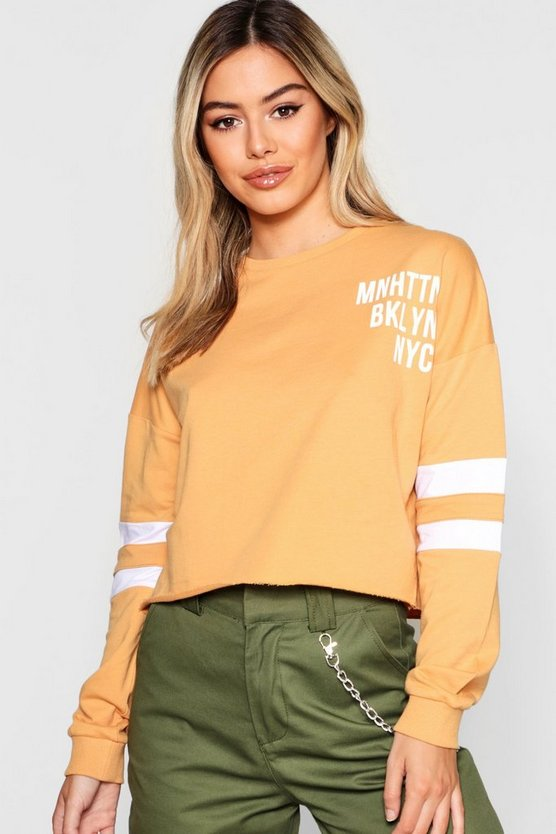Petite Slogan Baseball Sweat Top