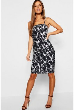 Petite Dalmatian Print Square Neck Midi Dress, Black