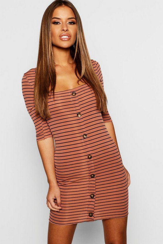 Womens Camel Petite Striped Bodycon Dress