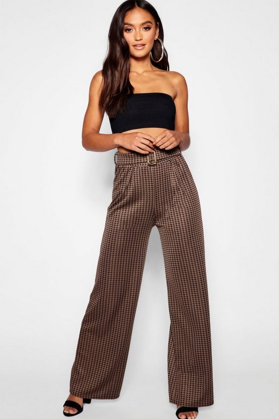Petite Dogtooth Check Belted Wide Leg Trouser