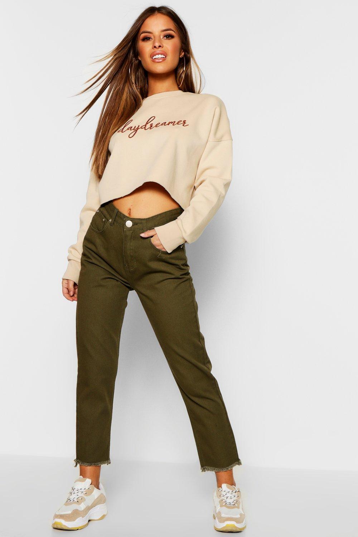 Petite Straight Leg Frayed Hem Jeans