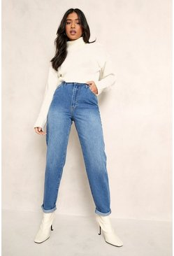 "Womens Mid blue Petite Mid Wash Classic Mom Jeans 26"""" Leg"