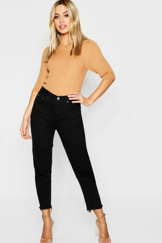 Petite Straight Leg Frayed Hem Black Jean