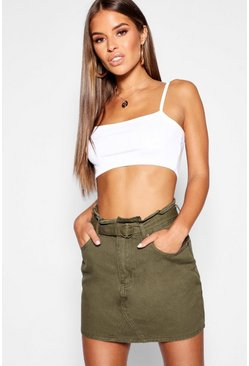 Womens Khaki Petite Paper Bag Waist Mini Skirt