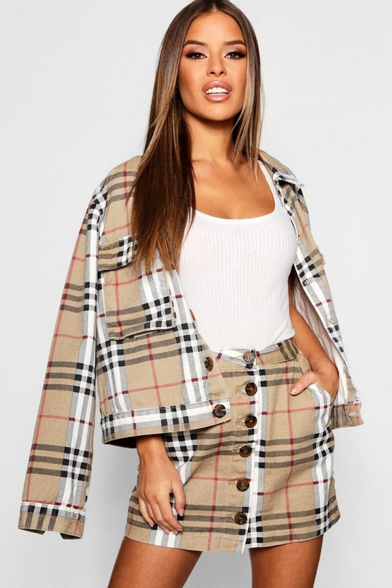 Petite Oversized Check Denim Mini Skirt
