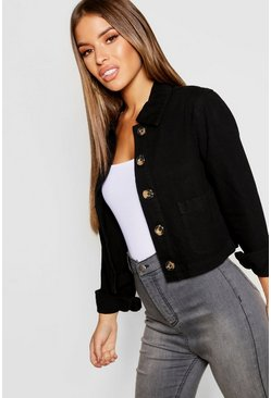 Womens Black Petite Mock Horn Button Jacket