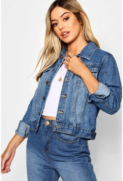 Womens Mid blue Petite Oversized Boyfriend Denim Jacket