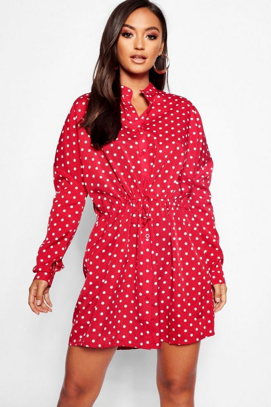 Petite Polka Dot Tie Waist Shirt Dress