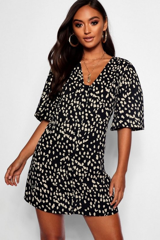 Petite Dalmatian Print Button Through Shift Dress