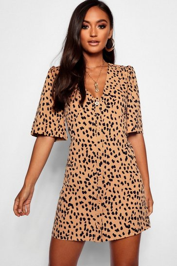 Camel Petite Dalmatian Print Button Through Shift Dress