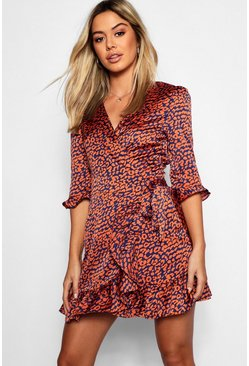 Petite Satin Leopard Print Ruffle Wrap Tea Dress, Orange, Donna