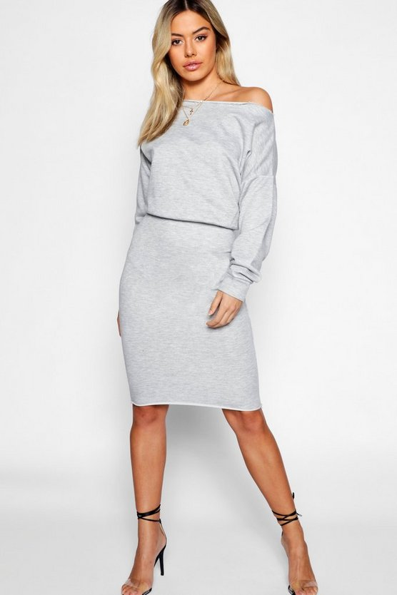 Petite Slash Neck Volume Sleeve Midi Sweat Dress