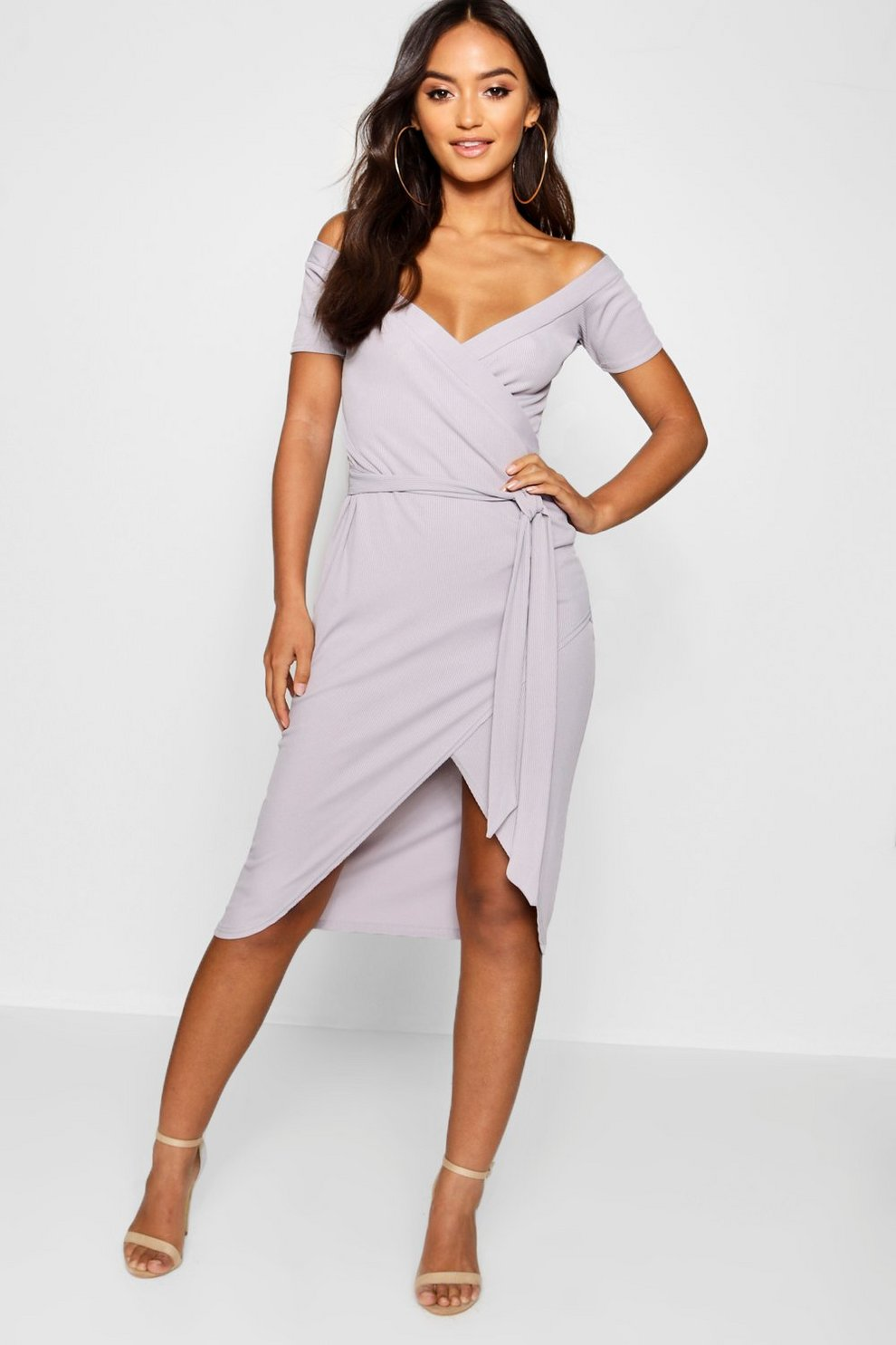851a9cc3df Petite Off The Shoulder Wrap Midi Dress