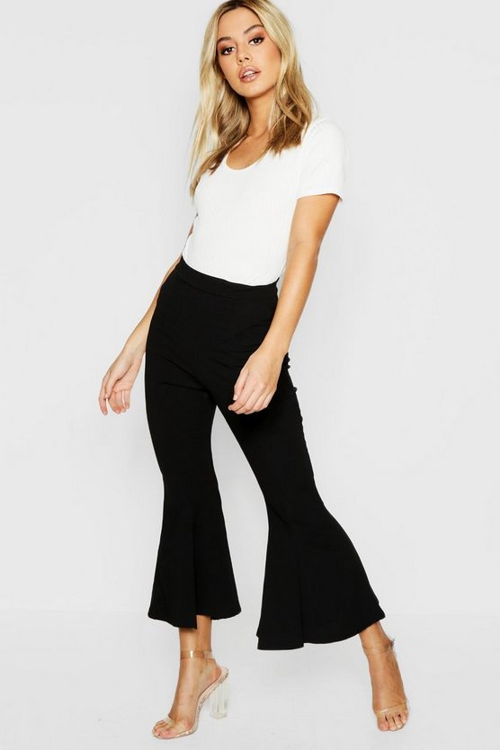 Womens Black Petite Cropped Flare Ankle Grazer