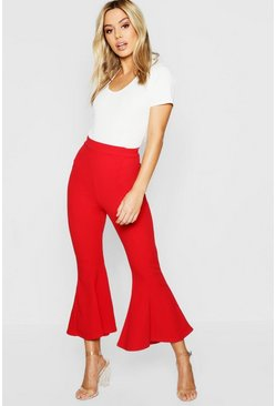 Womens Red Petite Cropped Flare Ankle Grazer
