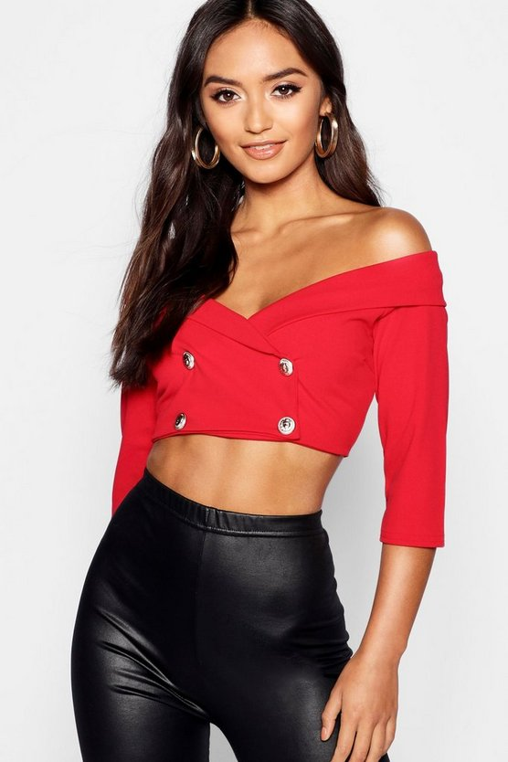 Petite Tuxedo Button Detail Crop Top