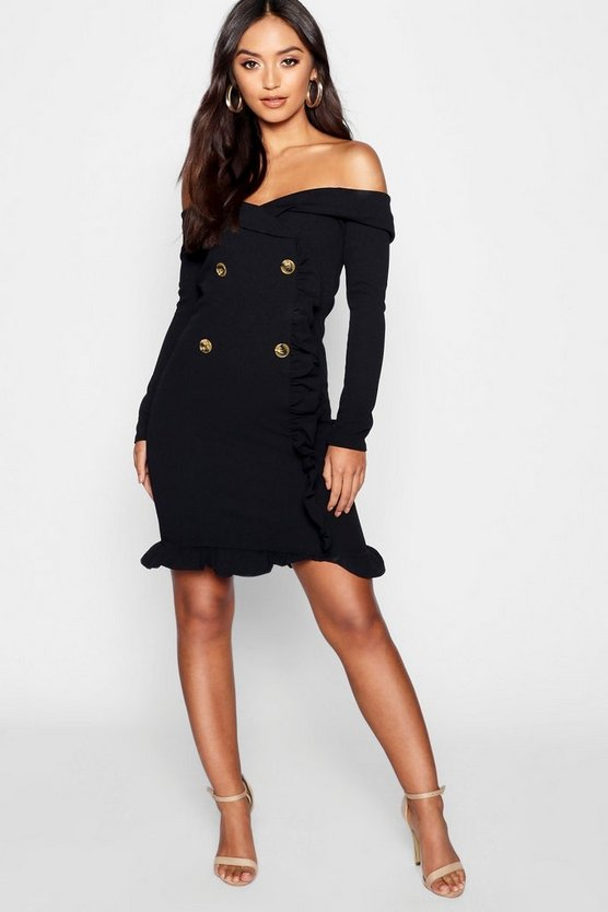Petite Bardot Tuxedo Button Mini Dress