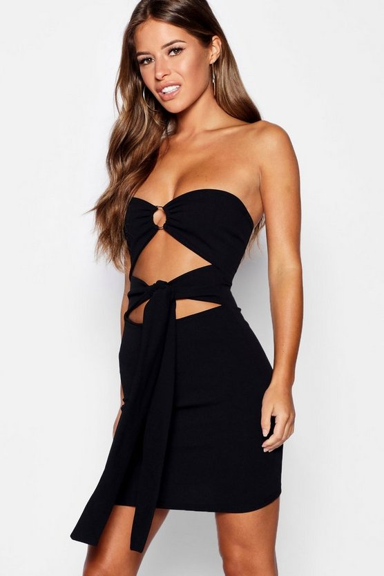 Petite O Ring Detail Bandeau Dress