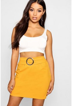 Womens Mustard Petite O Ring Buckle Detail Mini Skirt