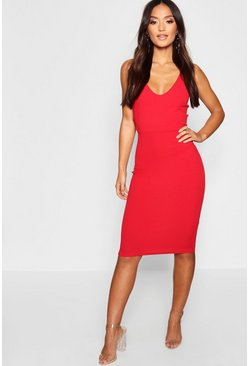 Womens Red Petite Side Buckle Detail Midi Dress