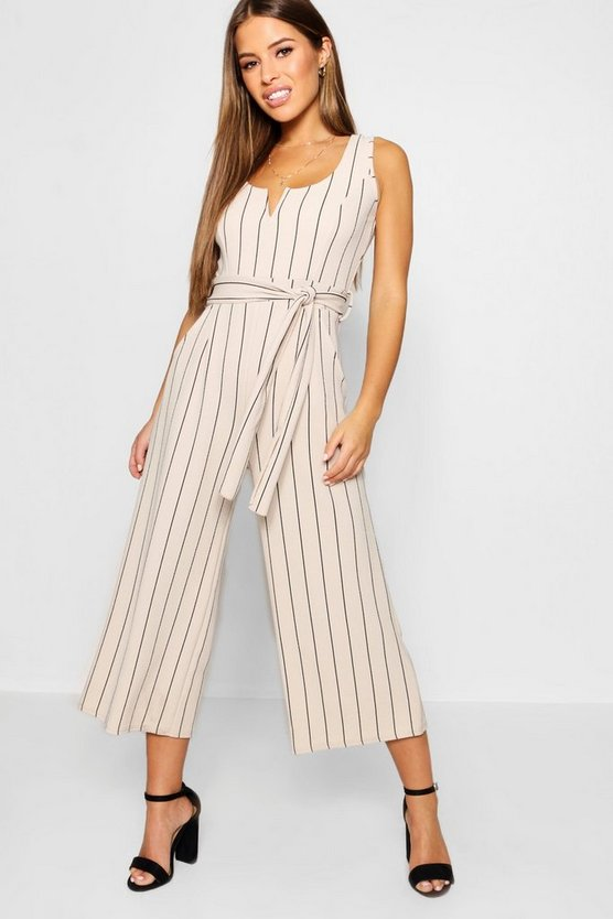 Petite Striped Culotte Jumpsuit