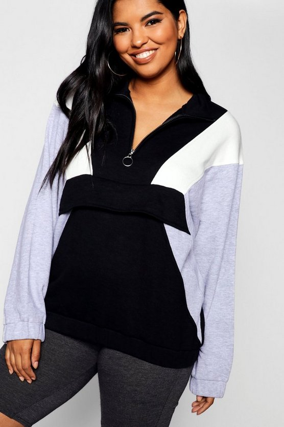 Womens Black Plus Ring Pull Pocket Detail Sweat Top
