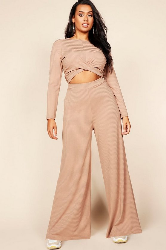 Plus Jumbo Rib Wide Leg Trouser