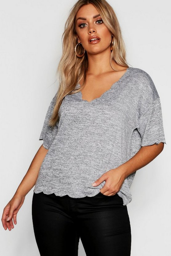 Top à bords festonnés tricoté Plus, Gris, Femme