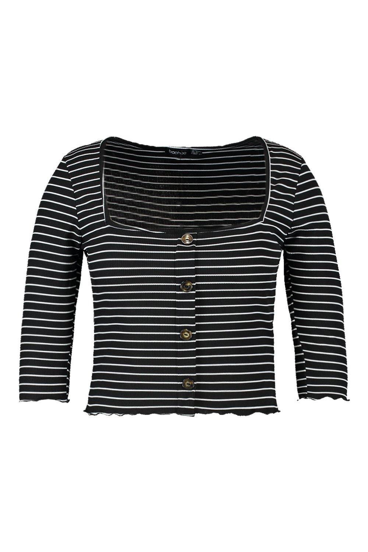 Plus black Top Button Striped Striped Button Plus Top black 8q8vrRpw