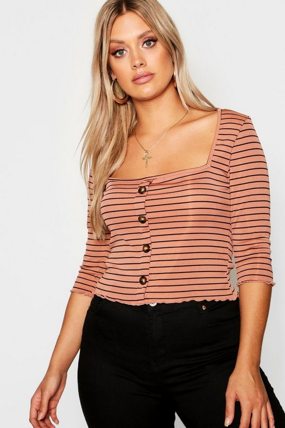 Plus Striped Button Top