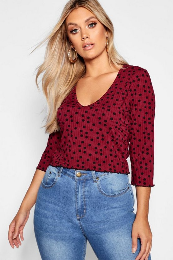 Womens Berry Plus Spotty Ribbed Top
