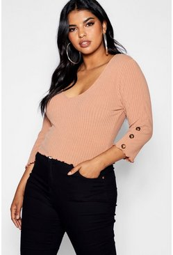 Camel Plus Button Ribbed Top