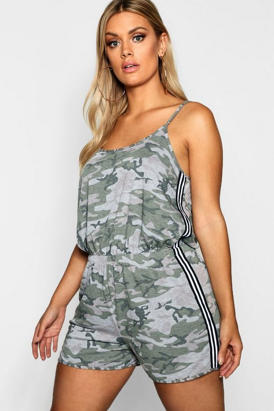 Womens Green Plus Camo Stripe Detail Playsuit