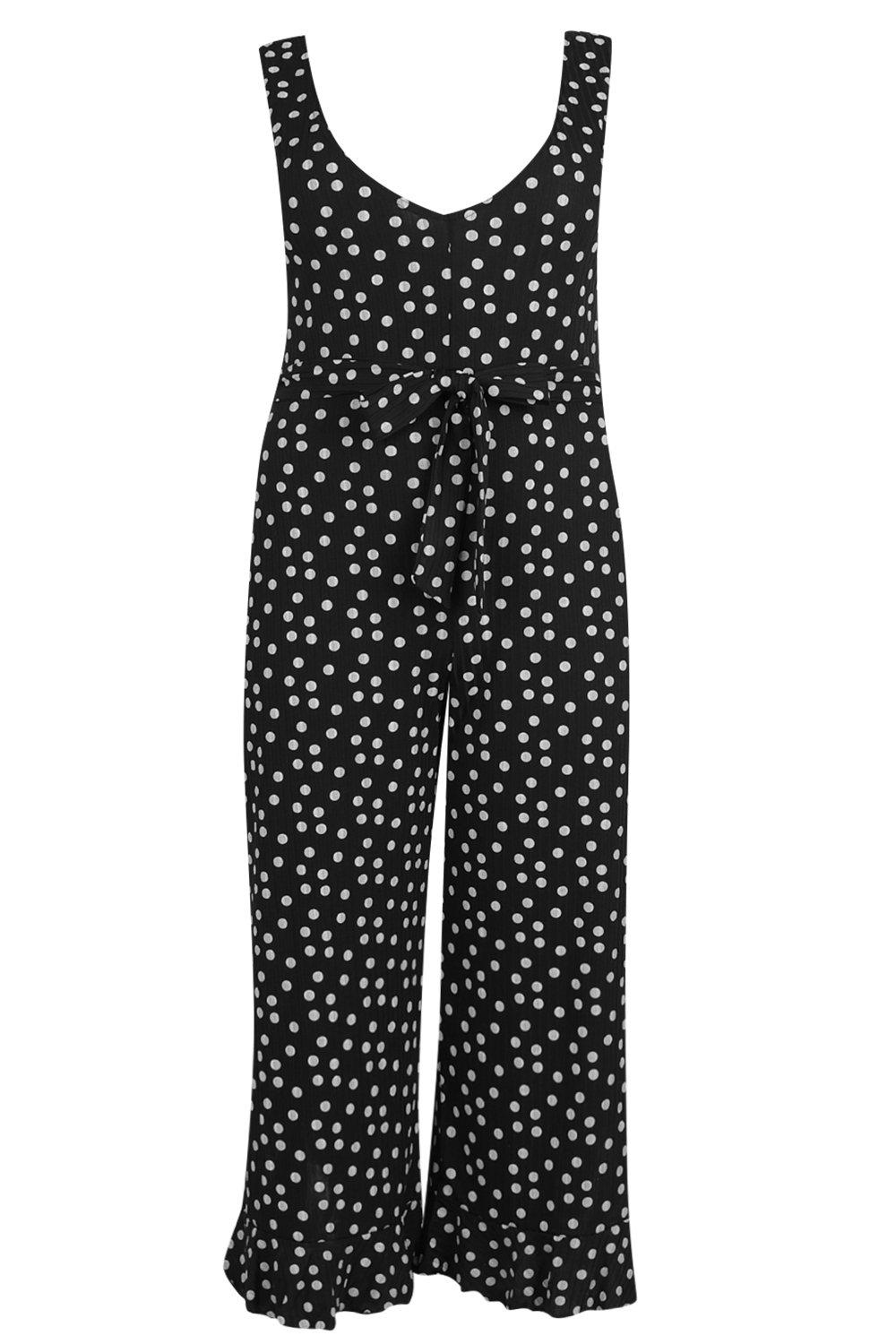 Jumpsuit Spotty Plus Rib black Culotte xX0gp