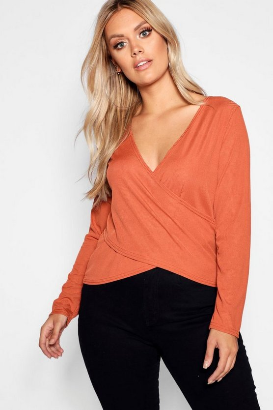 Plus Wrap Rib Knitted Top