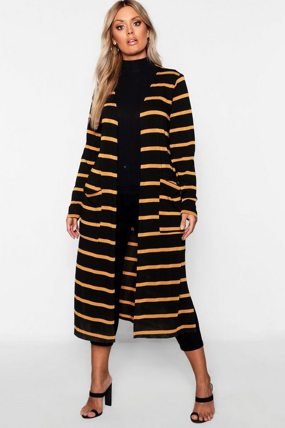 Womens Black Plus Stripe Cardigan