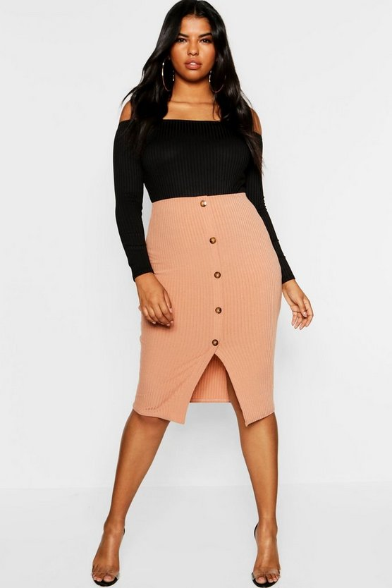 Plus Button Ribbed Midi Skirt