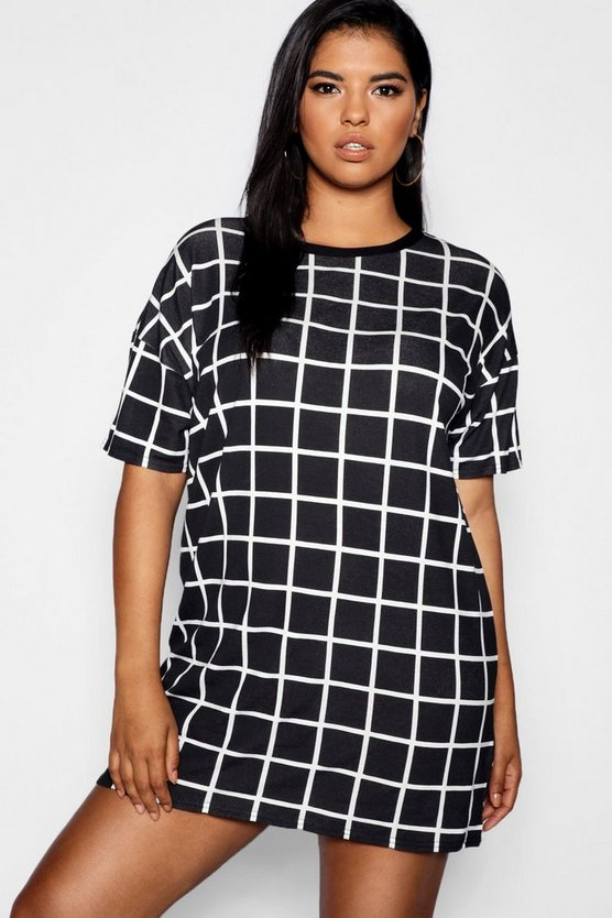 Black Plus Grid Print T Shirt Dress