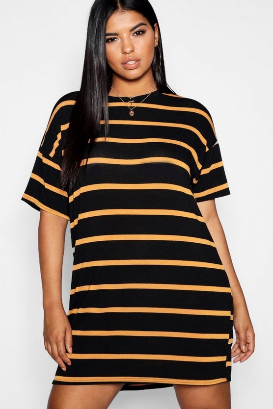 Plus Knitted Stripe T Shirt Dress