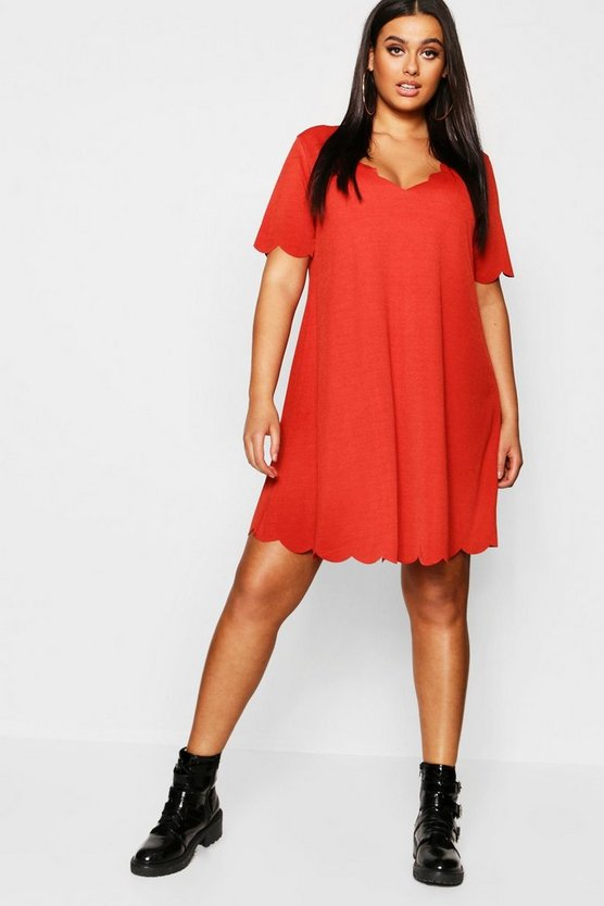Plus Scallop Edge Swing Dress