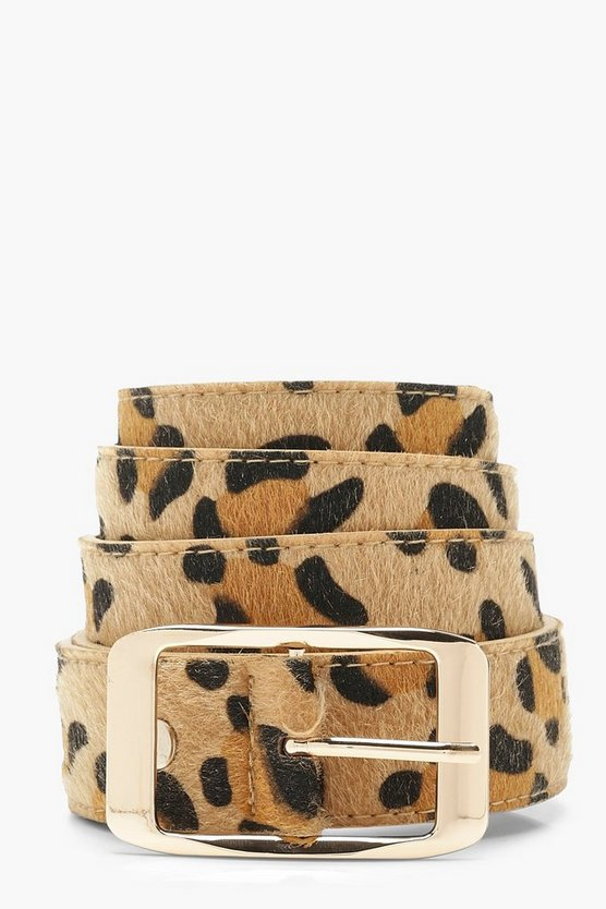 Plus Leopard Boyfriend Belt With Gold Buckle