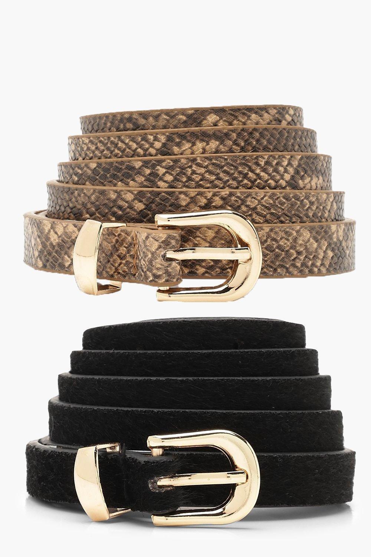 Plus 2 Pack Snake & Suedette Belt