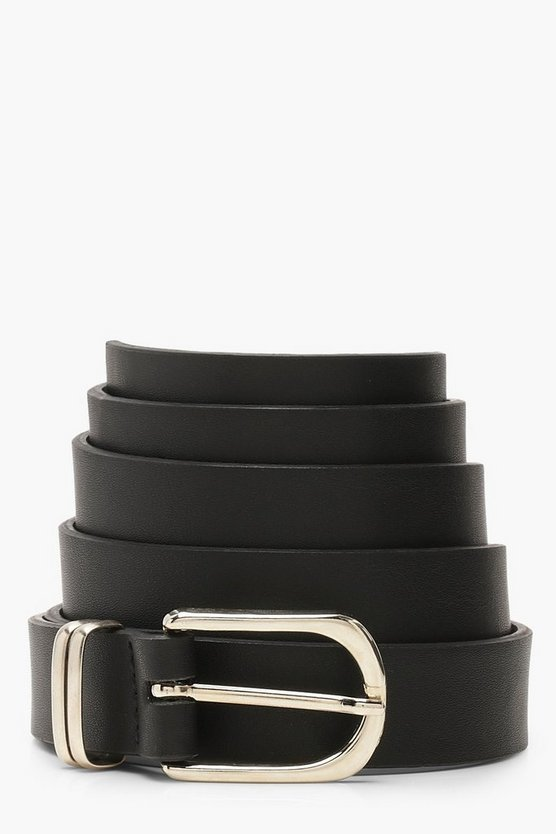 Womens Black Plus Silver Buckle Detail Boyfriend Belt