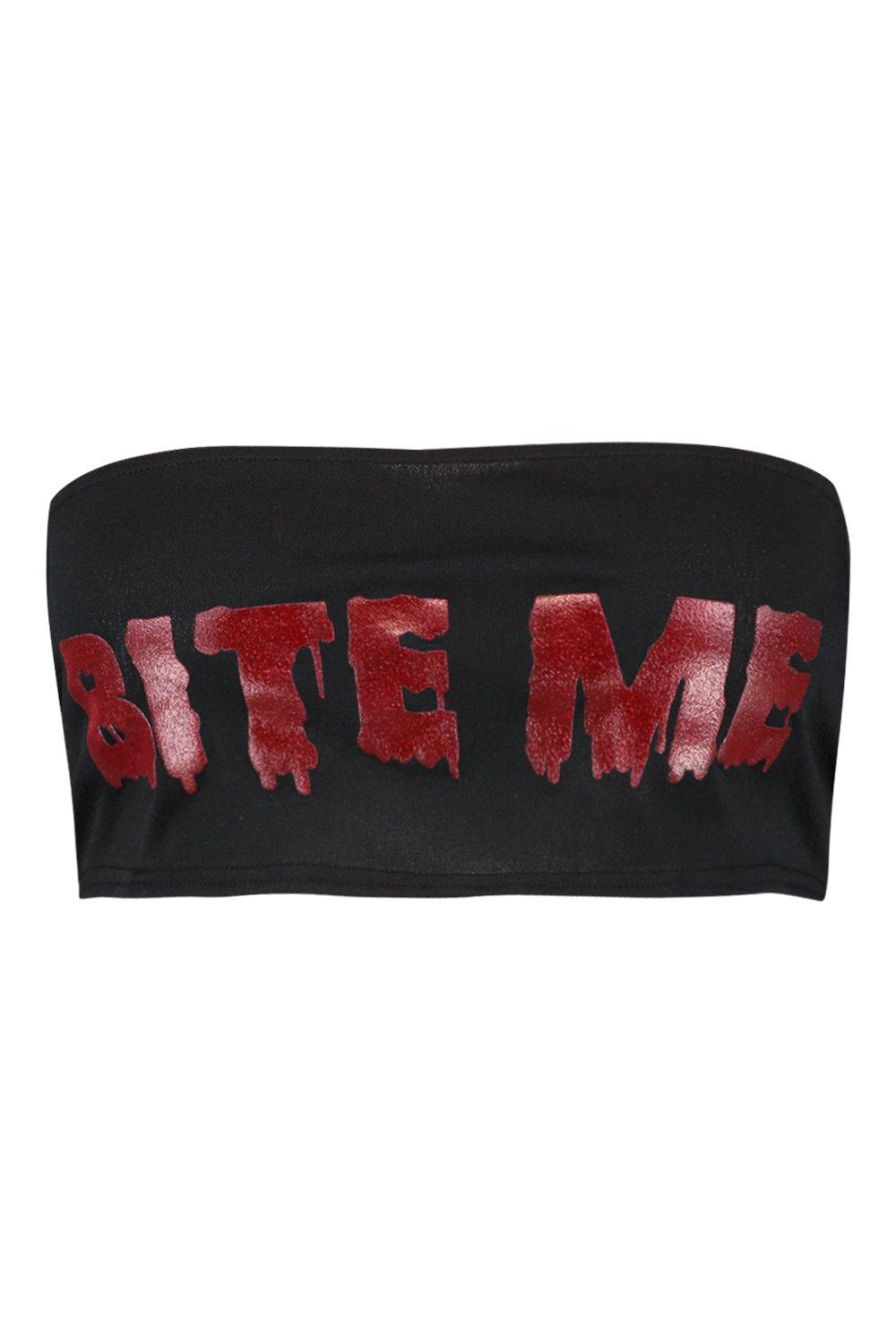 Bite Plus Top Me Halloween black Printed Bandeau qwxFd7Cw