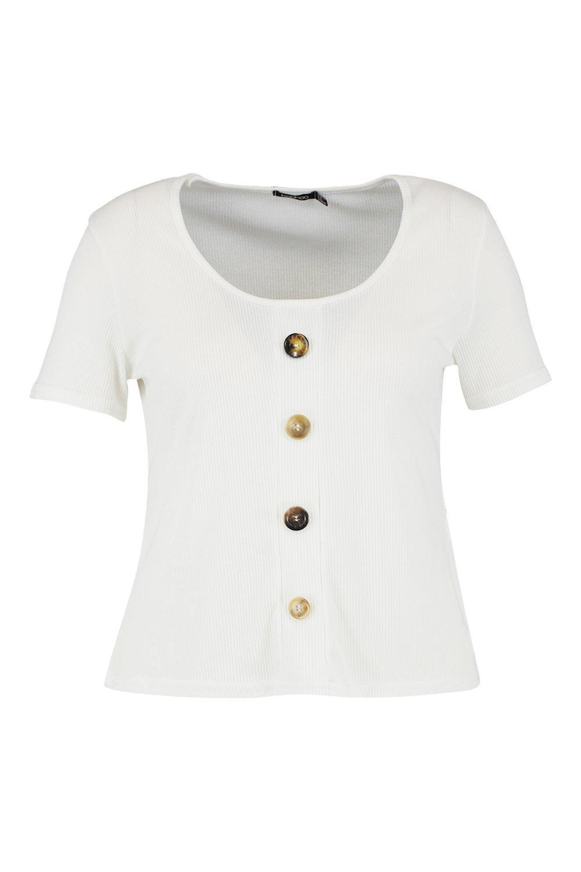 Top Rib Plus Button Mixed white 8q6zZt6nS