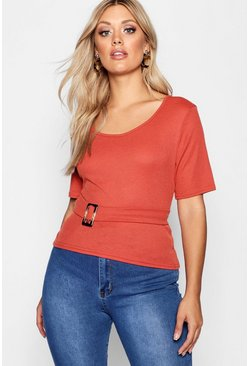 Womens Rust Plus Rib Buckle Belted Top