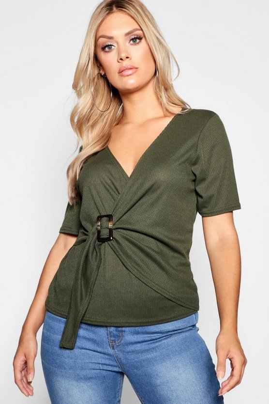 Womens Khaki Plus Rib Wrap Buckle Top
