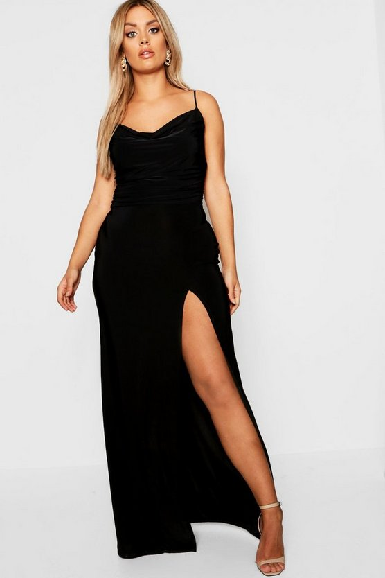 Womens Black Plus Slinky Cowl Neck Maxi Dress