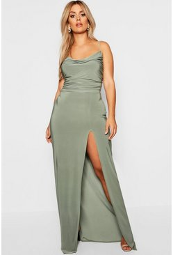 Womens Khaki Plus Slinky Cowl Neck Maxi Dress